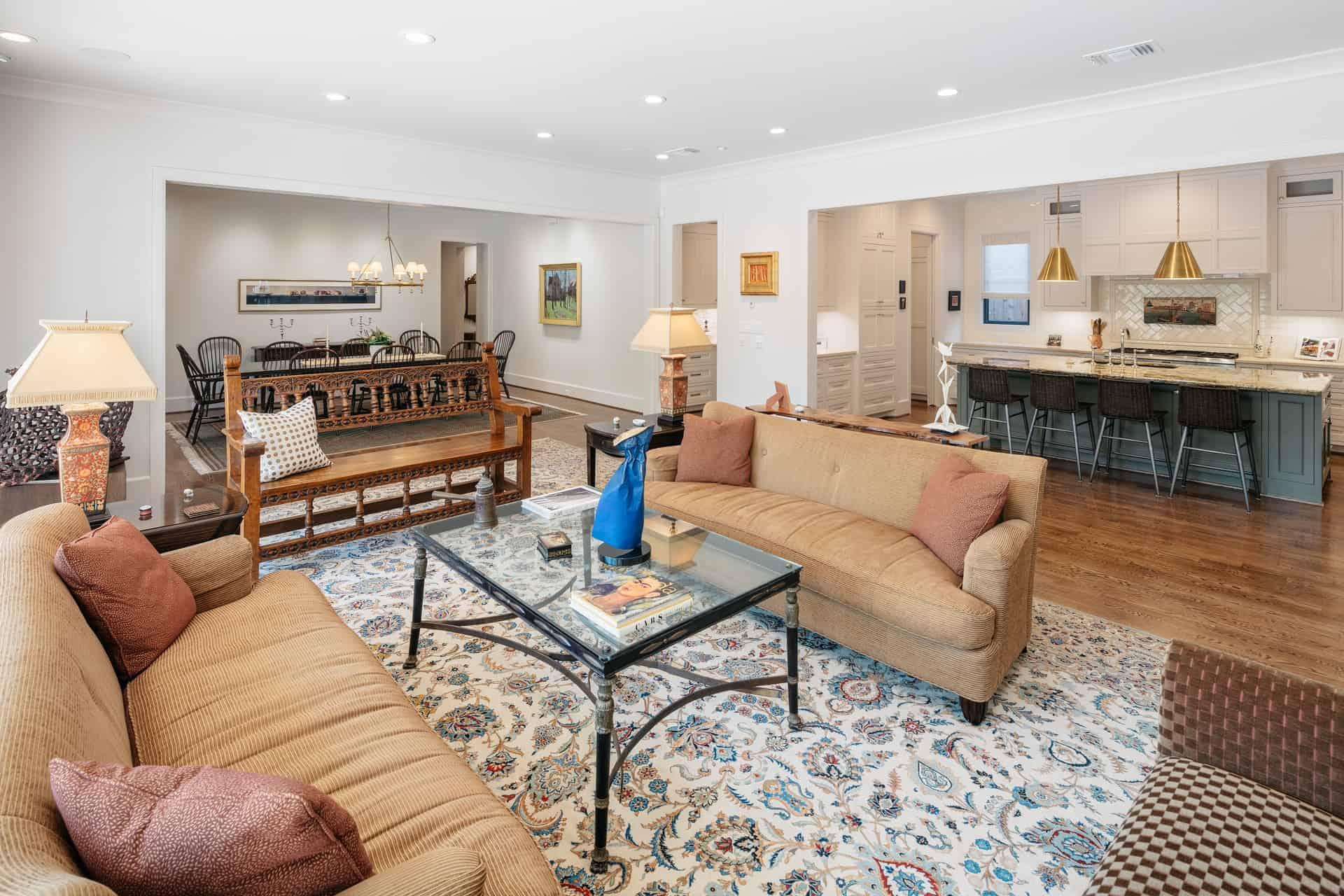 Transitional Living Dining Kitchen Open Floor Plan